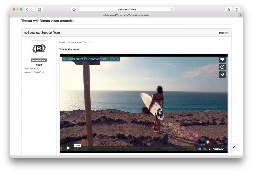 eeBootstrap Thread with Vimeo video embeded